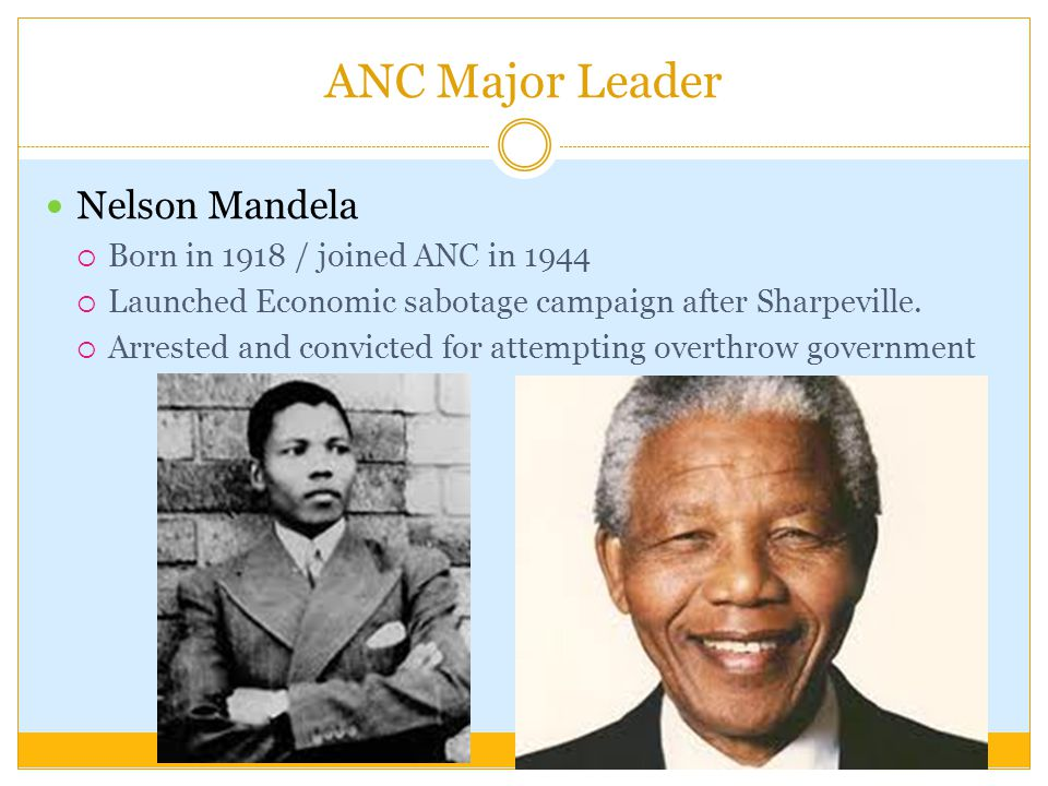 ANC Major Leader Nelson Mandela Born in 1918 / joined ANC in 1944