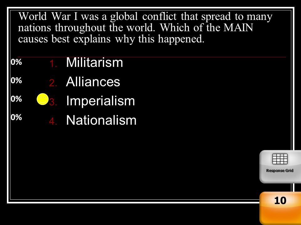 nationalism militarism and imperialism as the underlying causes of world war i The five main causes of the war were militarism, alliances, imperialism, nationalism, and certain events that happened that lead to war (maine) the first cause of world war one was due to militarism.