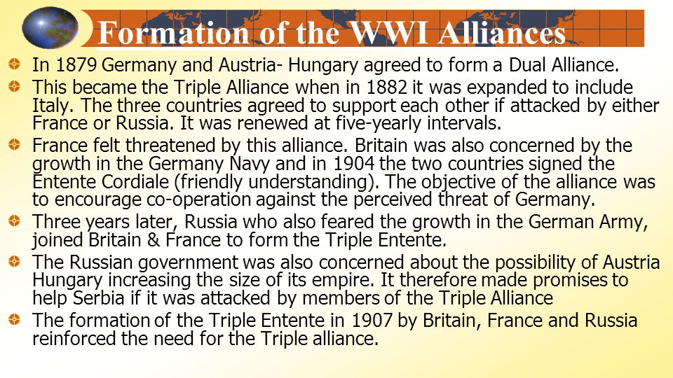 a look at the formation and objectives of the dual alliance of 1879 1914: yet another cautionary tale  and instead work independently to achieve their own objectives, can be found in the history of the dual alliance between .