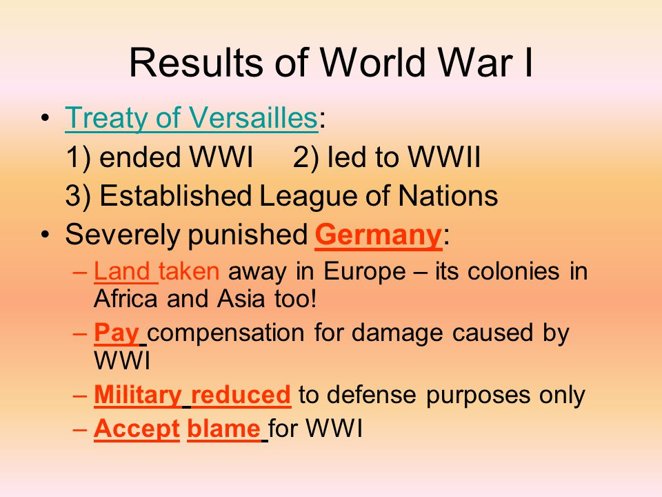 results of world war 1 essay The use of technology during world war 1 essay sample stalemate was the result of a number of developments in military technology in the late 19th century.