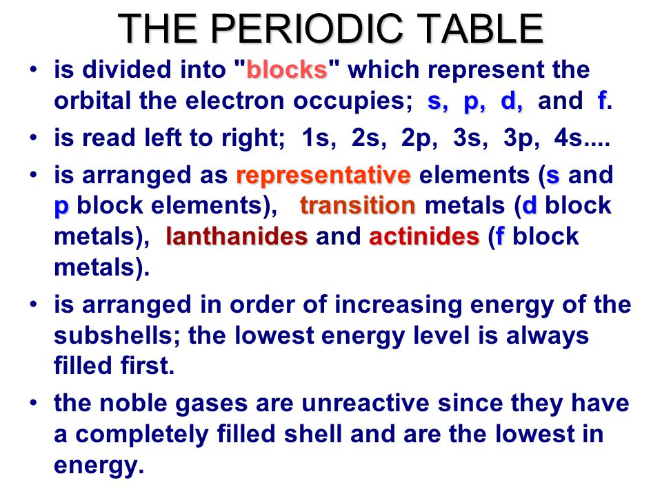 Periodic Table what is p on the periodic table : THE PERIODIC TABLE is arranged in order of increasing number of ...