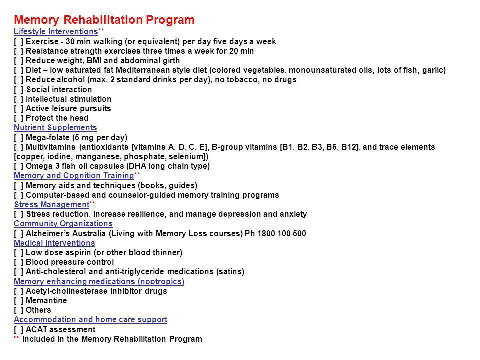 Memory Rehabilitation Program