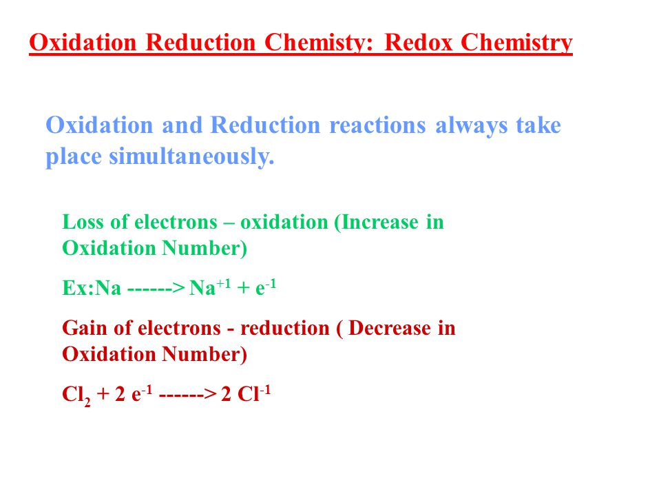 Oxidation Reduction Chemisty: Redox Chemistry