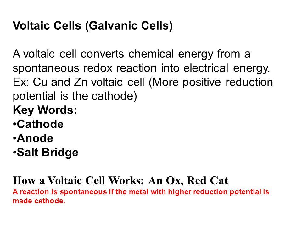 Voltaic Cells (Galvanic Cells)