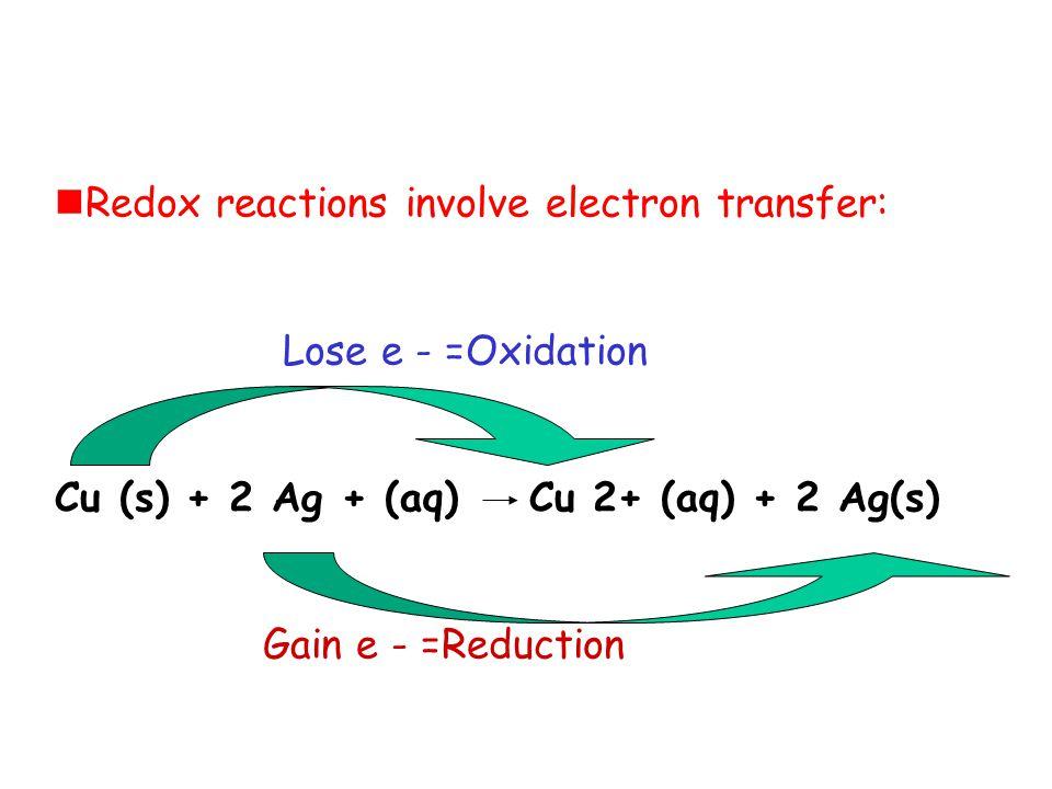 Redox reactions involve electron transfer: