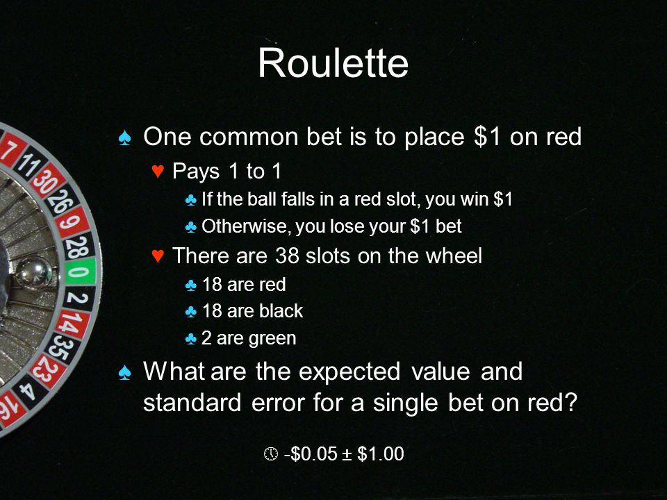Expected value roulette quit gambling hotline
