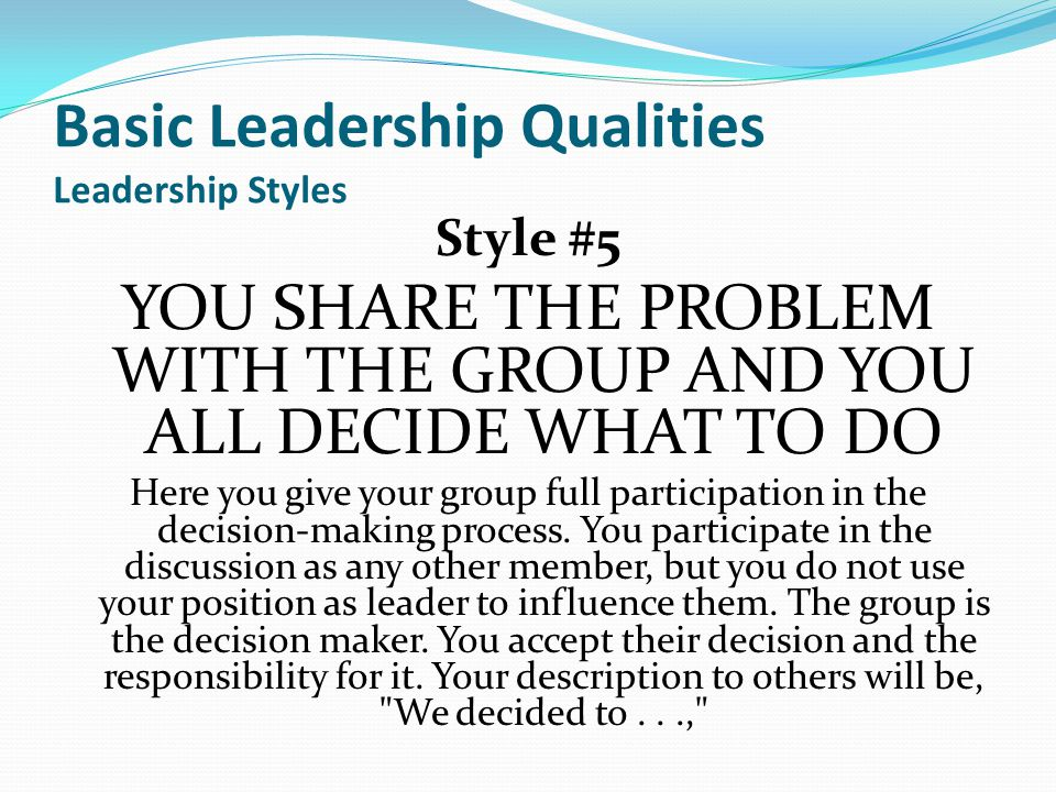 a discussion on quality leadership Leadership and the qualities of a leader from wikieducator leadership can be described as the ability of an allowing a person to capably lead discussions.