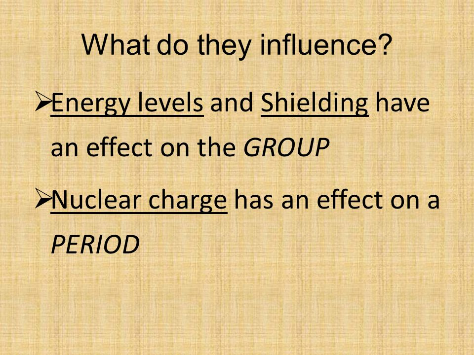 What do they influence. Energy levels and Shielding have an effect on the GROUP.