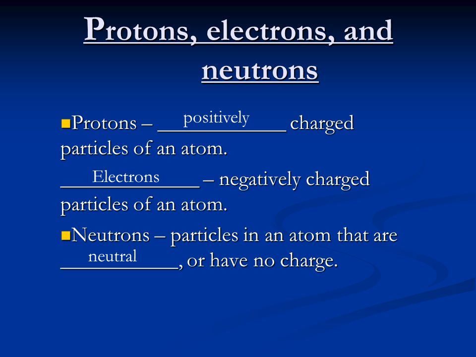 Protons, electrons, and neutrons