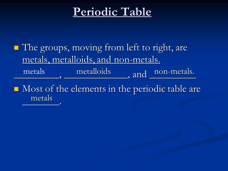 Periodic Table The groups, moving from left to right, are metals, metalloids, and non-metals. , , and.