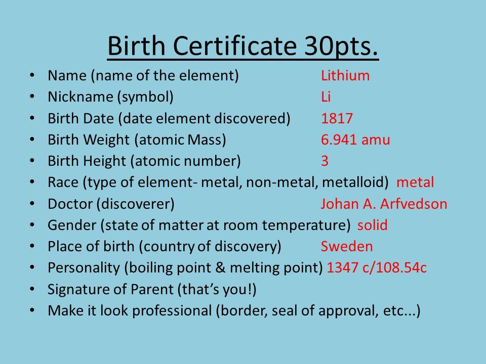 element birth certificate