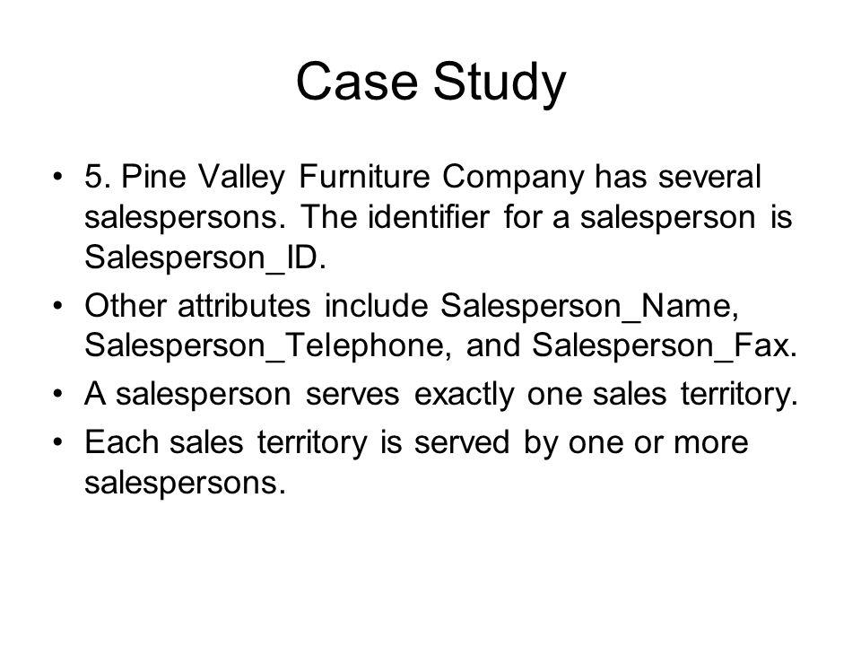 Pine Valley Furniture Company Has Several Salespersons. The Identifier For A