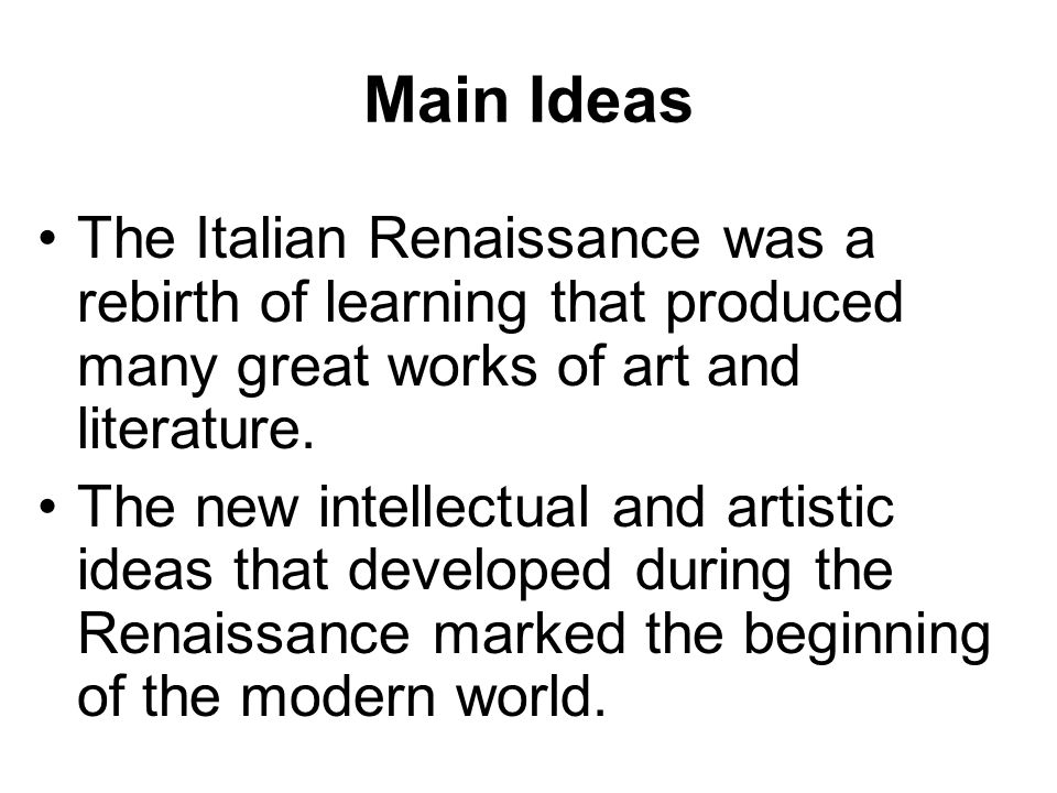 the ideas of the italian renaissance Continue reading renaissance cooking → renaissance foods there is a lot of information available for original recipes from the medieval and renaissance periods.