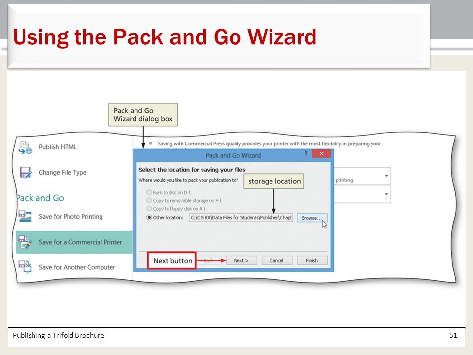 Using the Pack and Go Wizard