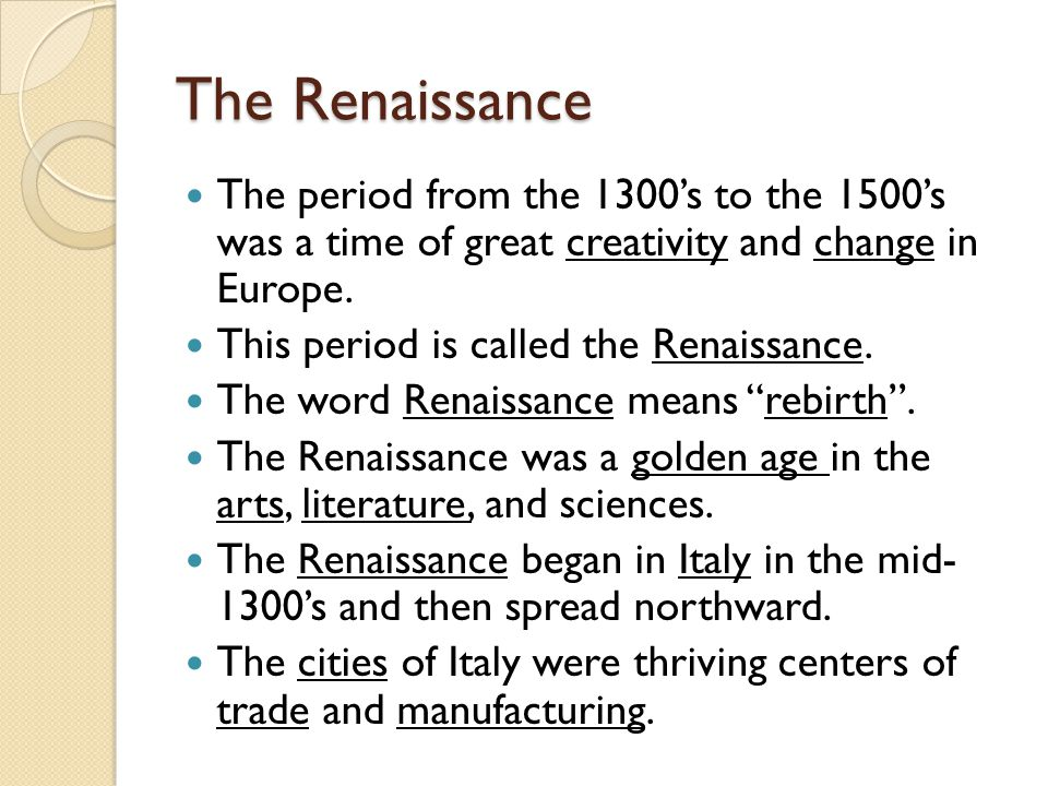 Renaissance and mention answer