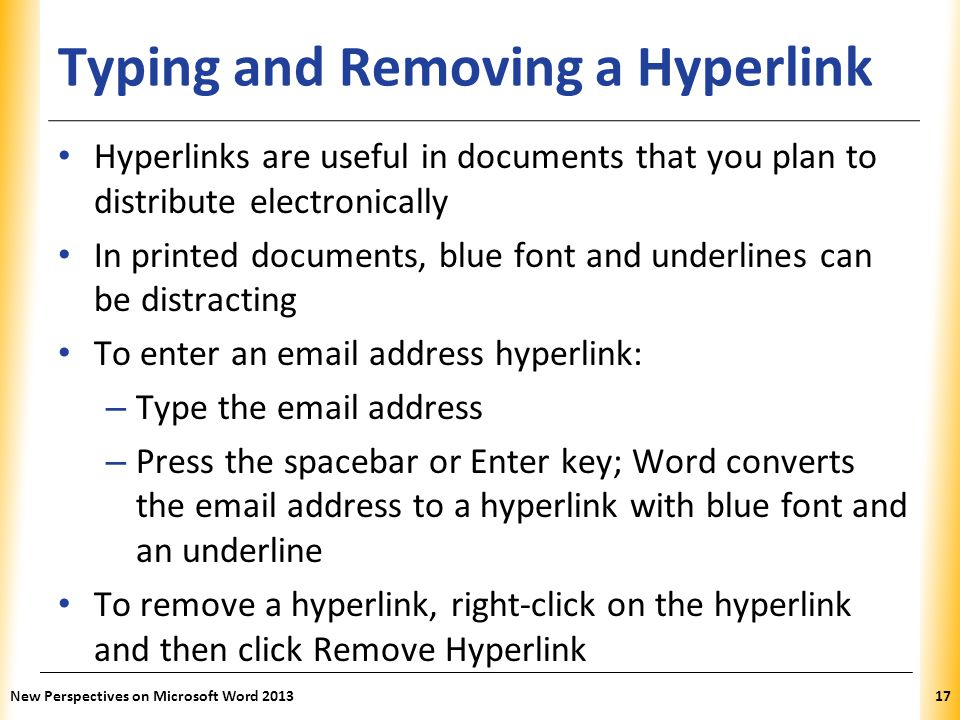 Typing and Removing a Hyperlink
