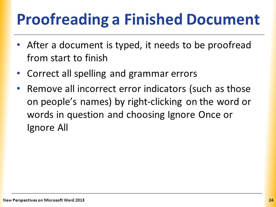 Proofreading a Finished Document