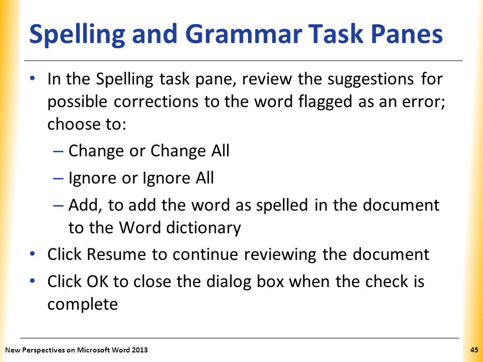 Spelling and Grammar Task Panes
