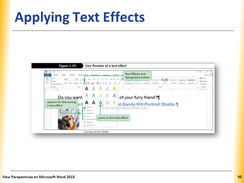 Applying Text Effects New Perspectives on Microsoft Word 2013
