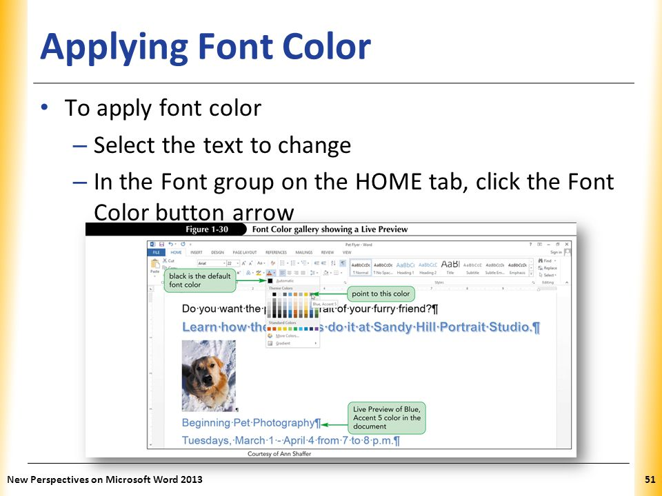 Applying Font Color To apply font color Select the text to change