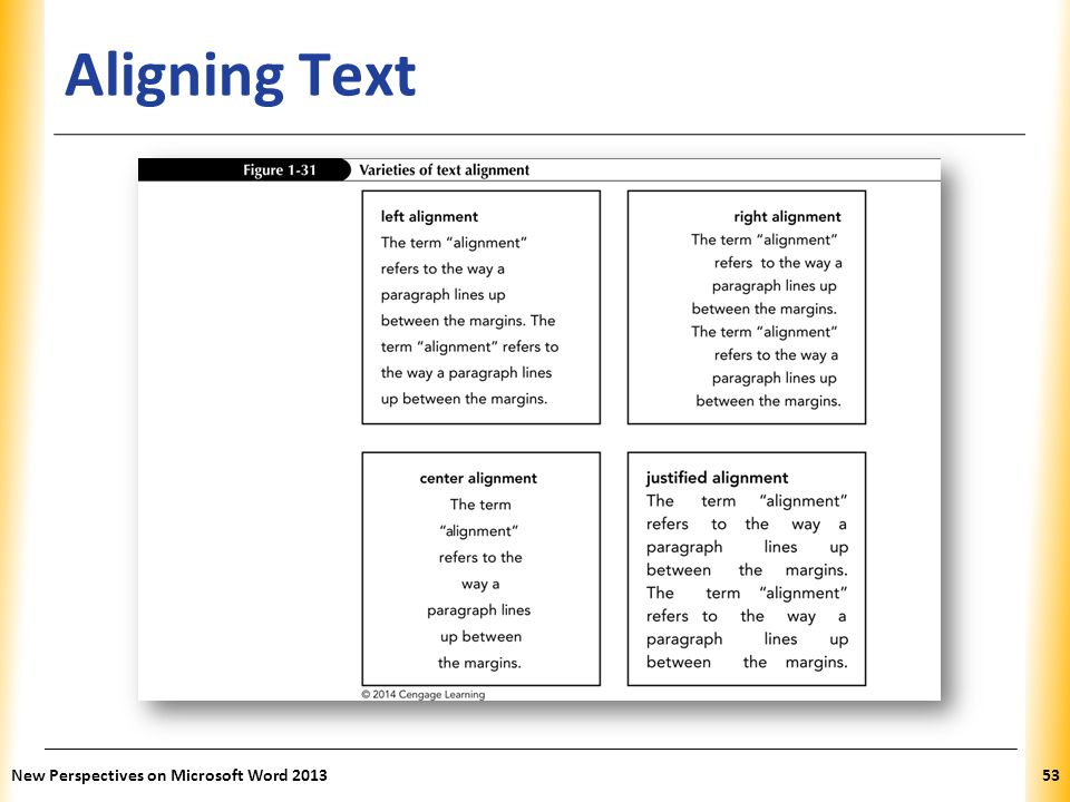 Aligning Text New Perspectives on Microsoft Word 2013