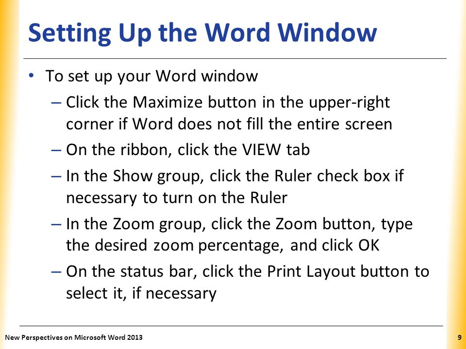 Setting Up the Word Window