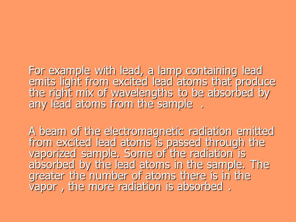For example with lead, a lamp containing lead emits light from excited lead atoms that produce the right mix of wavelengths to be absorbed by any lead atoms from the sample .