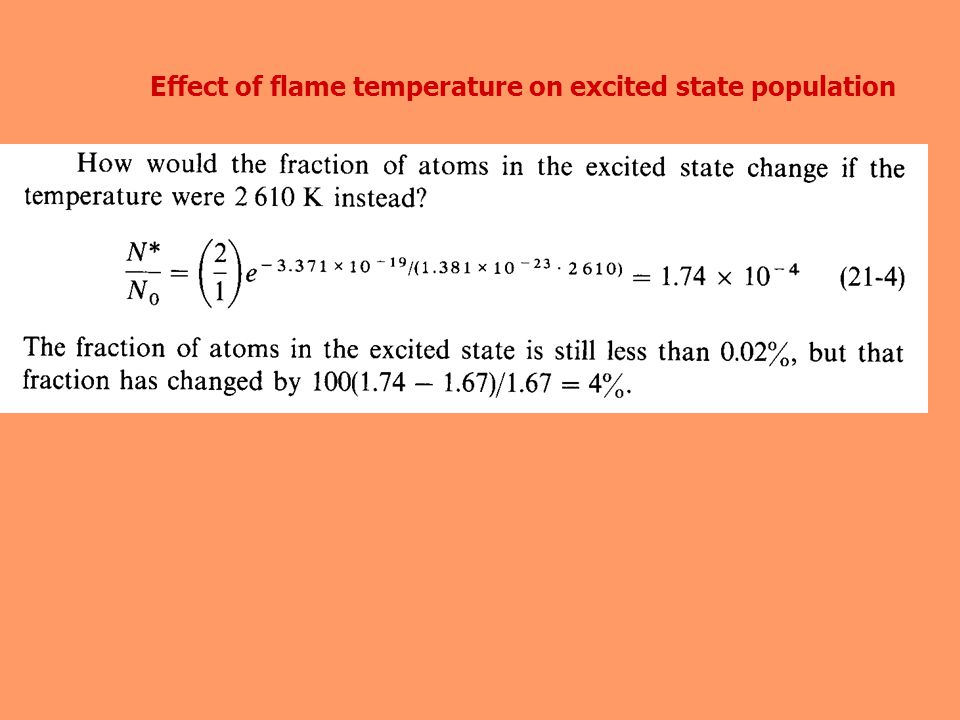 Effect of flame temperature on excited state population
