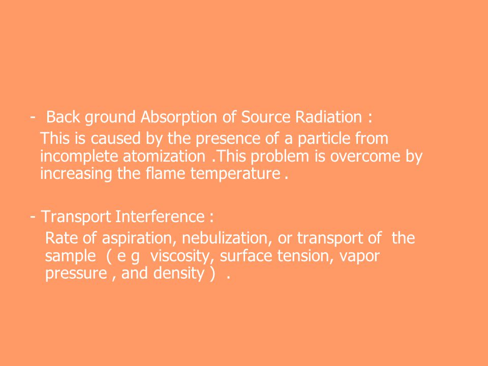 - Back ground Absorption of Source Radiation :