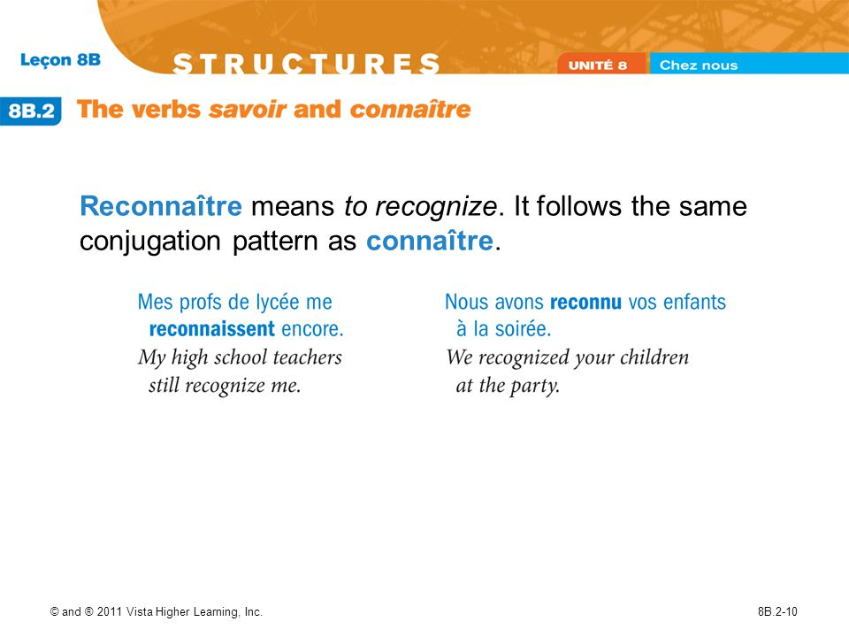 Reconnaître means to recognize