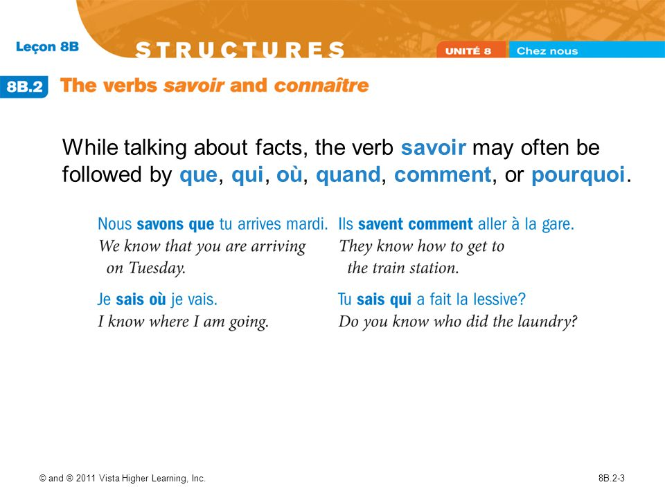 While talking about facts, the verb savoir may often be followed by que, qui, où, quand, comment, or pourquoi.