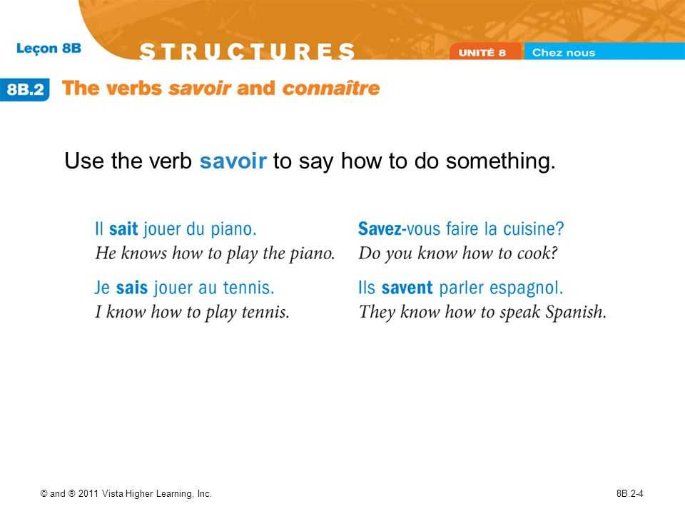 Use the verb savoir to say how to do something.