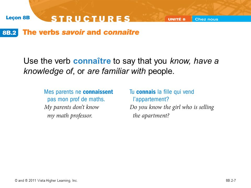 Use the verb connaître to say that you know, have a knowledge of, or are familiar with people.