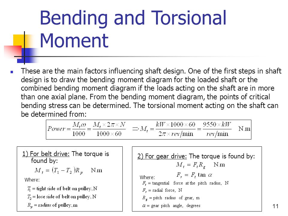 Bending and Torsional Moment