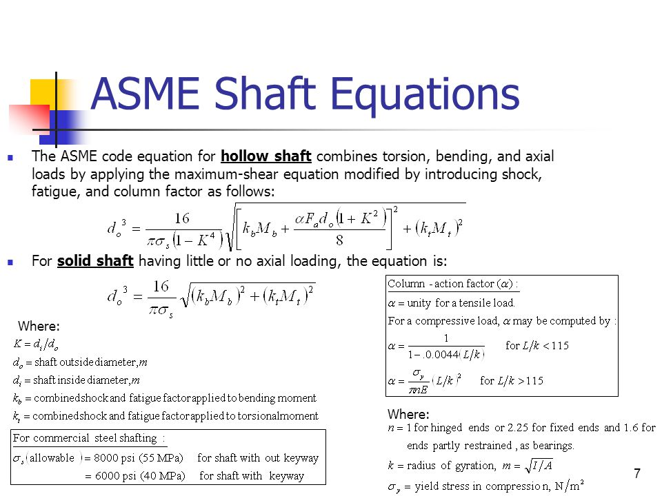 ASME Shaft Equations