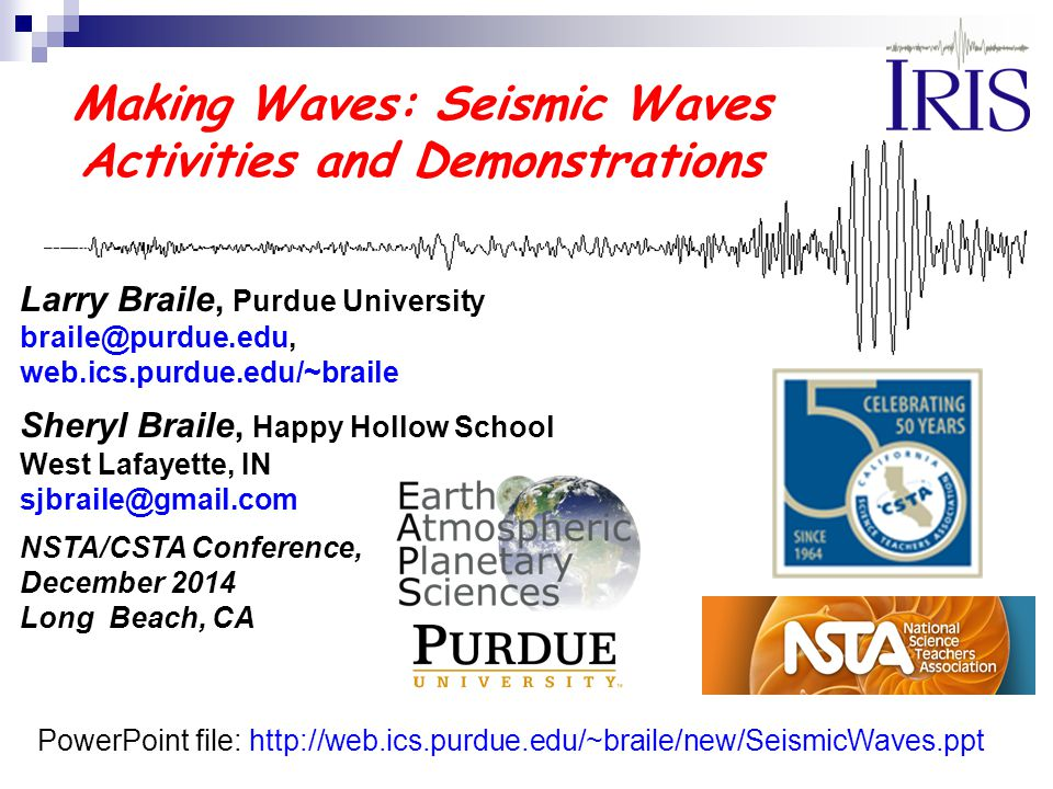 Making waves seismic waves activities and demonstrations ppt making waves seismic waves activities and demonstrations toneelgroepblik Images