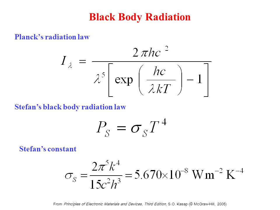 Pradiation = total radiation power emitted (W = J s-1)