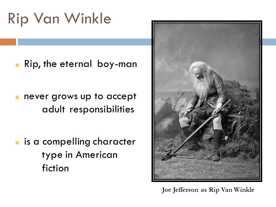 character analysis of rip van winkle Rip van winkle analysis rip van winkle is a story set at a time when revolution had not taken place and after it took place at the period when he disappears the region has changed not only the leaders but the people that van left behind (perkins 203).
