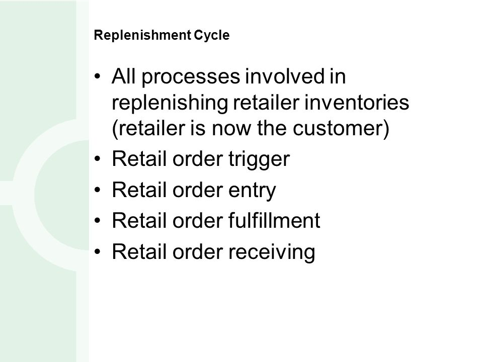 Retail order fulfillment Retail order receiving