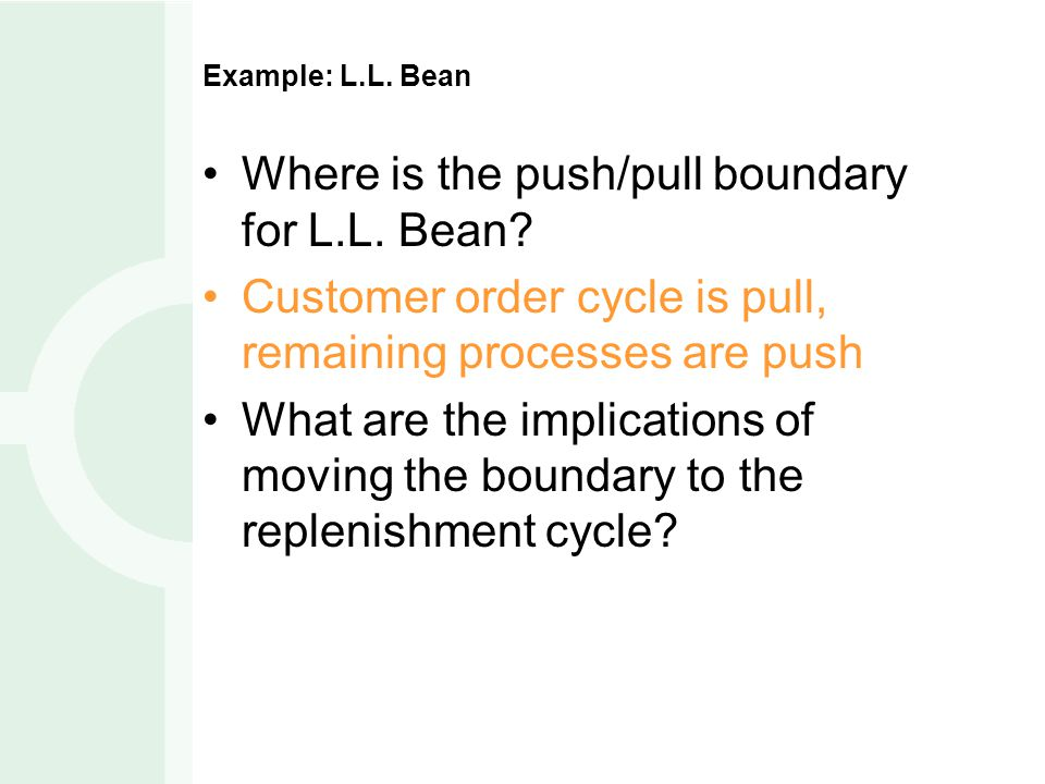 Where is the push/pull boundary for L.L. Bean