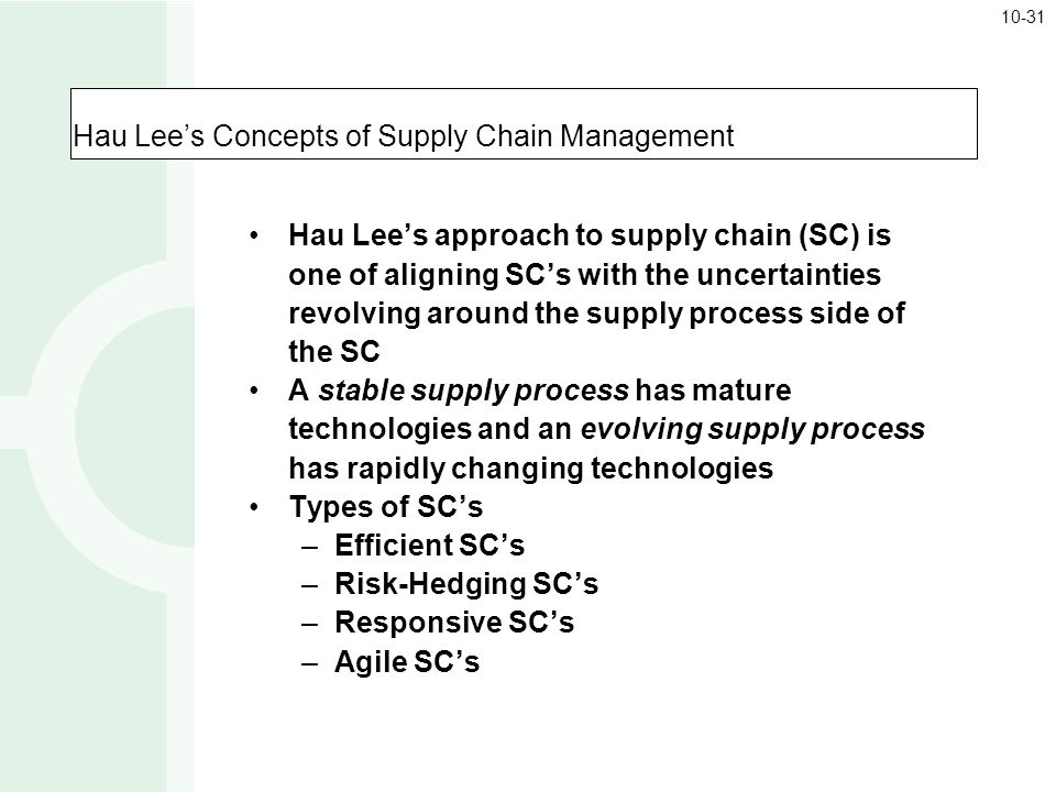 Hau Lee's Concepts of Supply Chain Management