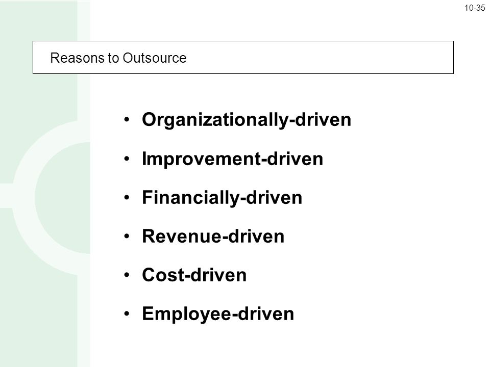 Organizationally-driven Improvement-driven Financially-driven