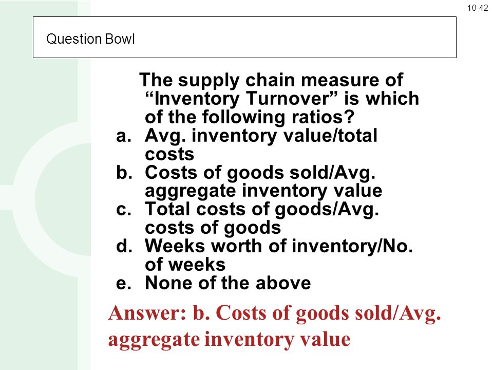 Answer: b. Costs of goods sold/Avg. aggregate inventory value