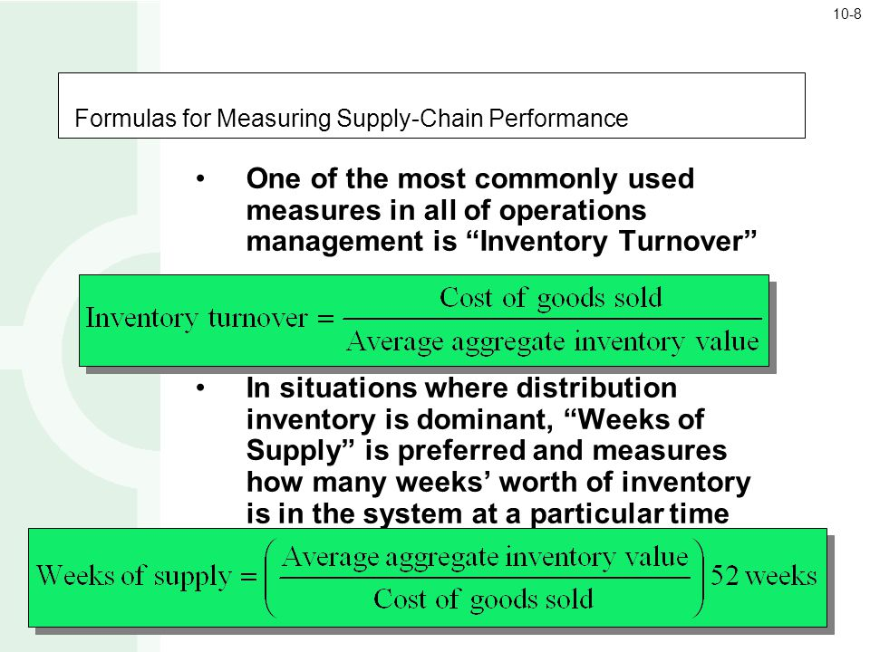 Formulas for Measuring Supply-Chain Performance