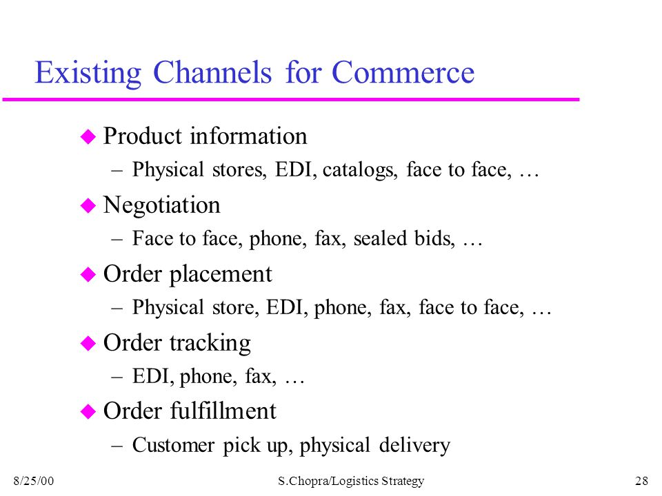 Existing Channels for Commerce