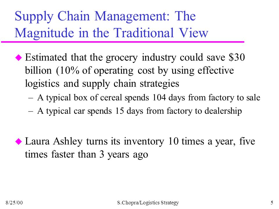 Supply Chain Management: The Magnitude in the Traditional View