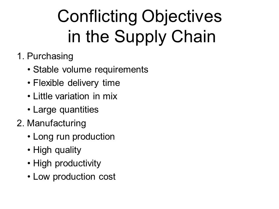 conflicting objectives supply chain Access supply chain management 5th edition chapter 10 solutions now our solutions are written by chegg experts  of conflicting objectives of different supply.