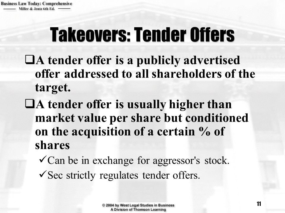 Takeovers: Tender Offers