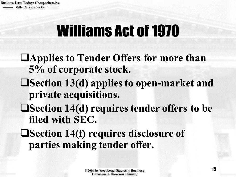 Williams Act of 1970 Applies to Tender Offers for more than 5% of corporate stock. Section 13(d) applies to open-market and private acquisitions.