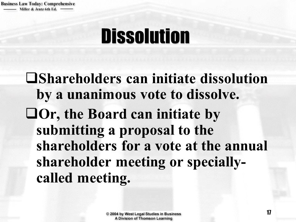 Dissolution Shareholders can initiate dissolution by a unanimous vote to dissolve.